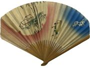 Vintage Chinese Bamboo And Rice Paper Original Woodblock Print Folding Hand Fan