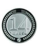 Pinmart's 14 Years Of Service Award Employee Recognition Gift Lapel Pin - Black