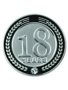 Pinmart's 18 Years Of Service Award Employee Recognition Gift Lapel Pin - Black