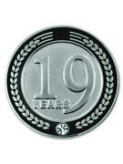 Pinmart's 19 Years Of Service Award Employee Recognition Gift Lapel Pin - Black