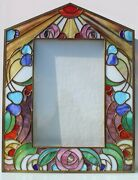Art Deco Large Stained Glass Photo Picture Frame.