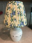 Longaberger Pottery 1997 Woven Traditions Green Lamp W Rose Trellis Shade