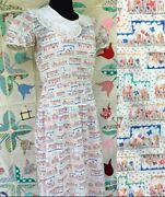Early 1930s Floral Printed Day Dress Cotton Voile Flapper Puff Sleeve Art Deco