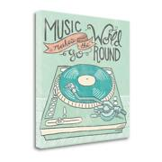 18 X 18 Retro Record Player Gray Giclee Print On Gallery Wrap Canvas