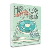 35 X 35 Retro Record Player Gray Giclee Print On Gallery Wrap Canvas