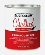 Rust-oleum Chalked 30 Oz Ultra Matte Farmhouse Red Water-based Acrylic Paint New
