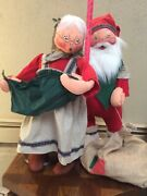 Annalee Mobilitee Doll Vintage Christmas Old World Santa And Mrs. Claus Large 30