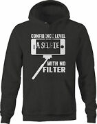 Confidence Level A Selfie No Filter Girl Hoodies For Men Dark Grey