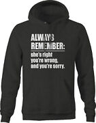 Shes Right Youre Wrong Youre Sorry Marriage Hoodies For Men Dark Grey