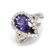 4 Ctw Natural Violet Tanzanite And Diamond Solid 14k White Gold Engagement Ring