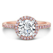 14k Rose Gold Round 1.15 Ct Natural Solitaire Diamonds Engagement Ring Size 5 6