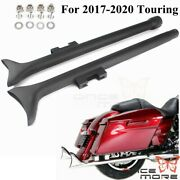Black 33 Fishtail Slip-on Mufflers Exhaust Pipes For 2017-2020 Touring Bagger