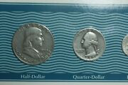 1950 Coin Set - D Quarter /p Ben Franklin Nickel Penny And Dime - See Photos