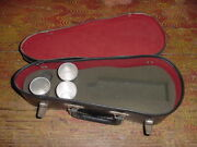 Miniature Violin Case For Beverages From The 50s With Three Aluminum Glasses