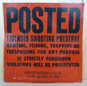 Posted Licensed Shooting Preserve Ny Sign No Hunting Trespassing Trapping