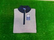 Footjoy 1857 Menand039s Stripe 1/4 Zip Cotton/cashmere Sweater Navy/white Large New