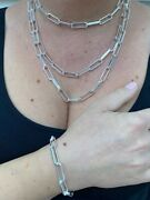 Solid 925 Sterling Silver Paperclip Chain Or Bracelet Large 7mm Necklace Italy