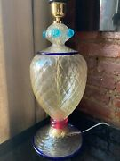 Vintage Hollywood Regency Quilted Murano Glass Table Lamp Barovier And Toso Mcm