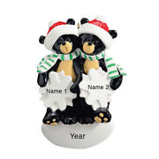 Personalized Christmas Ornaments Black Bear Couple Family Of 2 First Christmas