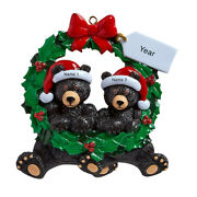 Personalized Christmas Ornaments - Black Bear Wreath Couple - Family Of 2 - Gift