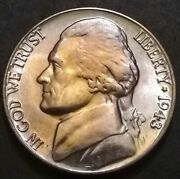 1943-d Jefferson Wartime Nickel, Uncirculated 35 Silver Pink And Yellow Beauty