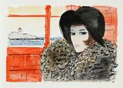 Charles Levier Portrait Of Woman In Black Hat Watercolor On Paper Signed