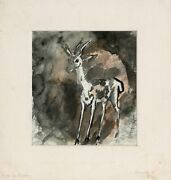Eugen Von Kahler Deer Mixed Medium With Charcoal And Watercolor Signed In Pen