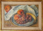 Robert Brackman A Plate Of Fruit Oil On Canvas Signed L.r