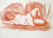 Raul Anguiano Muchacha En Una Cueva Pastel On Paper Signed And Dated L.r