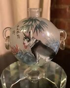 Antique Chinese Inside Painted Reverse Painting Glass Snuff Bottle Footed Dog