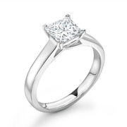 Diamond Solitaire Engagement Ring Princess Cut 0.50cts G-si1 Gia Certificate