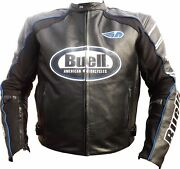 Buell Motorcycle Racing Leather Jacket With Ce Armor Red View