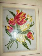 Vintage Cash Cashand039s Embroidery Picture Flowers Silk Tulips Red Cream