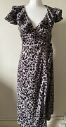 Lily And Lionel Leopard Print Ruffle Front Wrap Dress Size Xs Bnwt