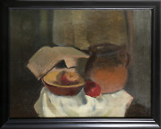 Jacob Friedland Still Life With Book Oil On Canvas Signed