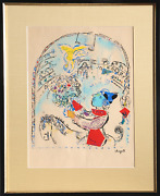 Marc Chagall The Circus With The Angel Lithograph On Laid Paper Signed In The