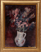 Unknown Artist Purple Flowers In White Pitcher Oil On Canvas Signed L.r.