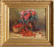 Unknown Artist Still Life With Cherries And Roses Oil On Canvas Signed And039m. Ro