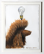 Ray Smith Poodle Lightbulb Watercolor On Paper Signed