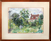 Irma Cavat Country Scene Watercolor On Paper Signed