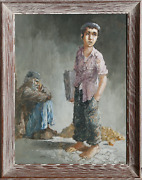 William Weintraub Newspaper Boy Gouache On Paper Signed And Dated