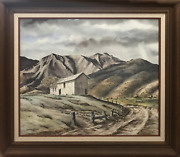 John W. Burgess Ranch In Soledad Canyon Watercolor On Paper Signed L.l.