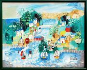 Charles Cobelle Village Sailing Scene With Covered Bridge Acrylic On Canvas S