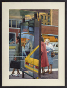 Don David Bus Stop Watercolor On Paper Signed