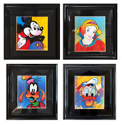 Peter Max Mickey Goofy Donald And Snow White Set Of Four Screenprints Signed