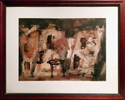 Charles Keeling Lassiter Abstract Building Watercolor On Paper Signed