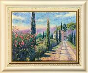 Diane Monet Cypress Road Oil On Canvas Signed