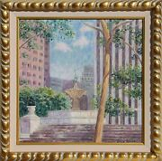 Diane Monet, Plaza Fountain, Oil On Canvas, Signed