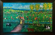 Elysee Remere Farm Harvest Landscape Acrylic On Canvas Signed L.r.