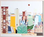 Mori Shizume New York Skyline 1-2 Screenprint Signed And Numbered In Pencil